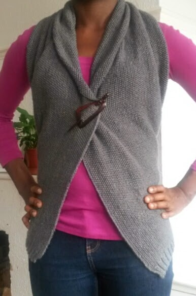 Knitted backless jacket by Mrs U Makes