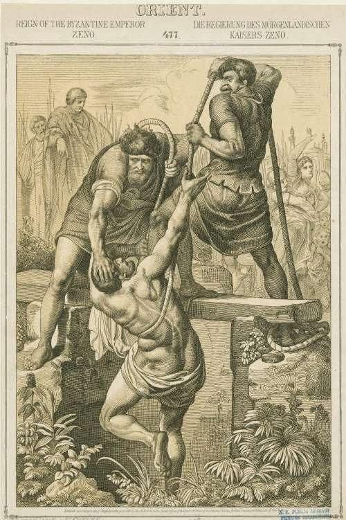 el usurpador del trono Basilisco es lanzado a un foso junto a toda su familia por orden del Emperador Zenón