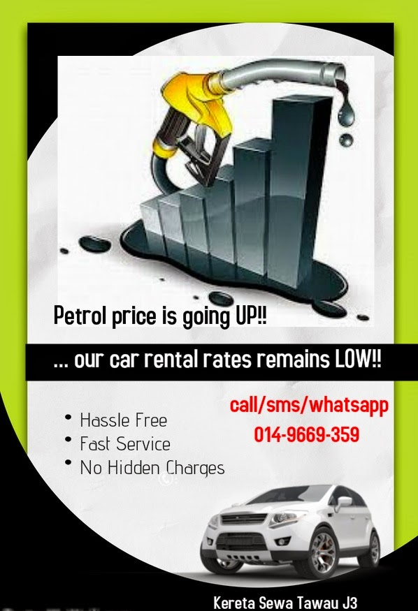 petrol price going up, our car rental rates remain low!