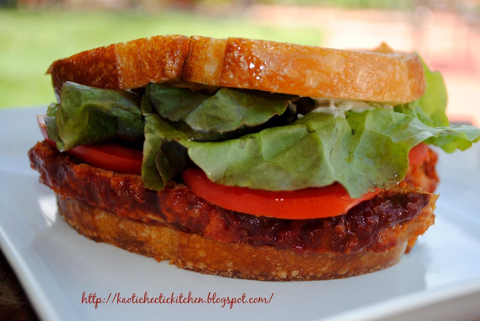 meatloaf sandwich on grilled parmesan sourdough