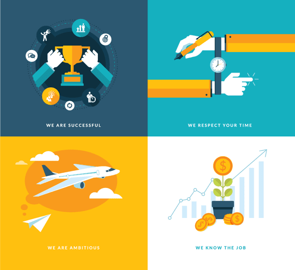 Business flat concept icons