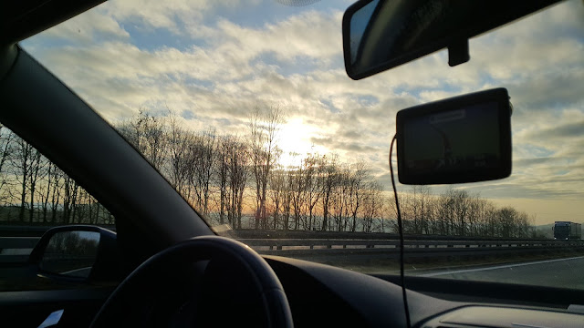 Sunset on Autobahn