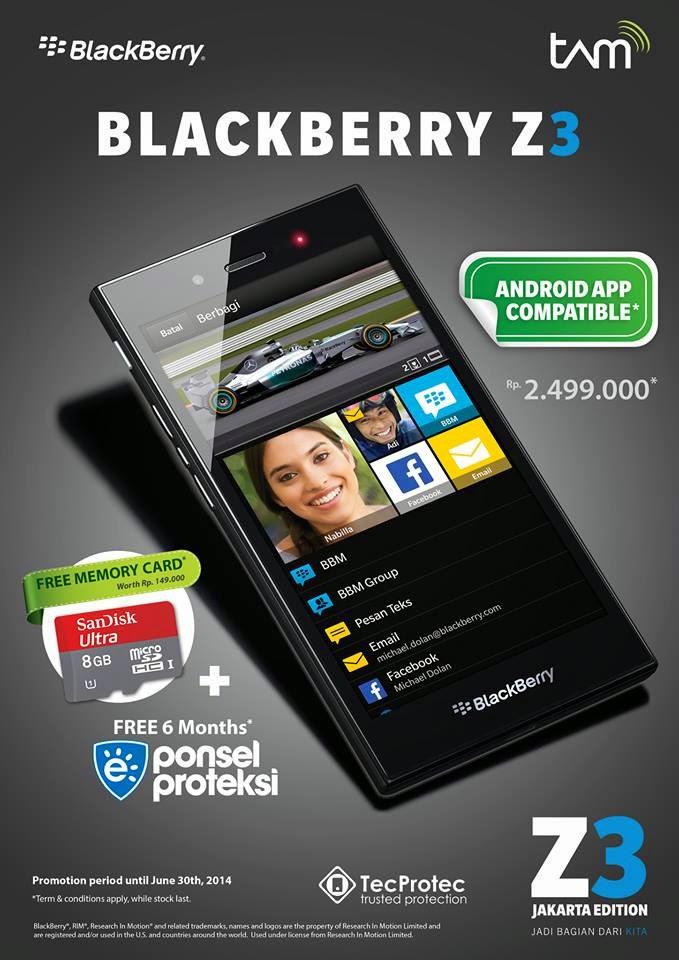 BlackBerry Z3 + Memory Card 8GB Harga Rp 2.499.000