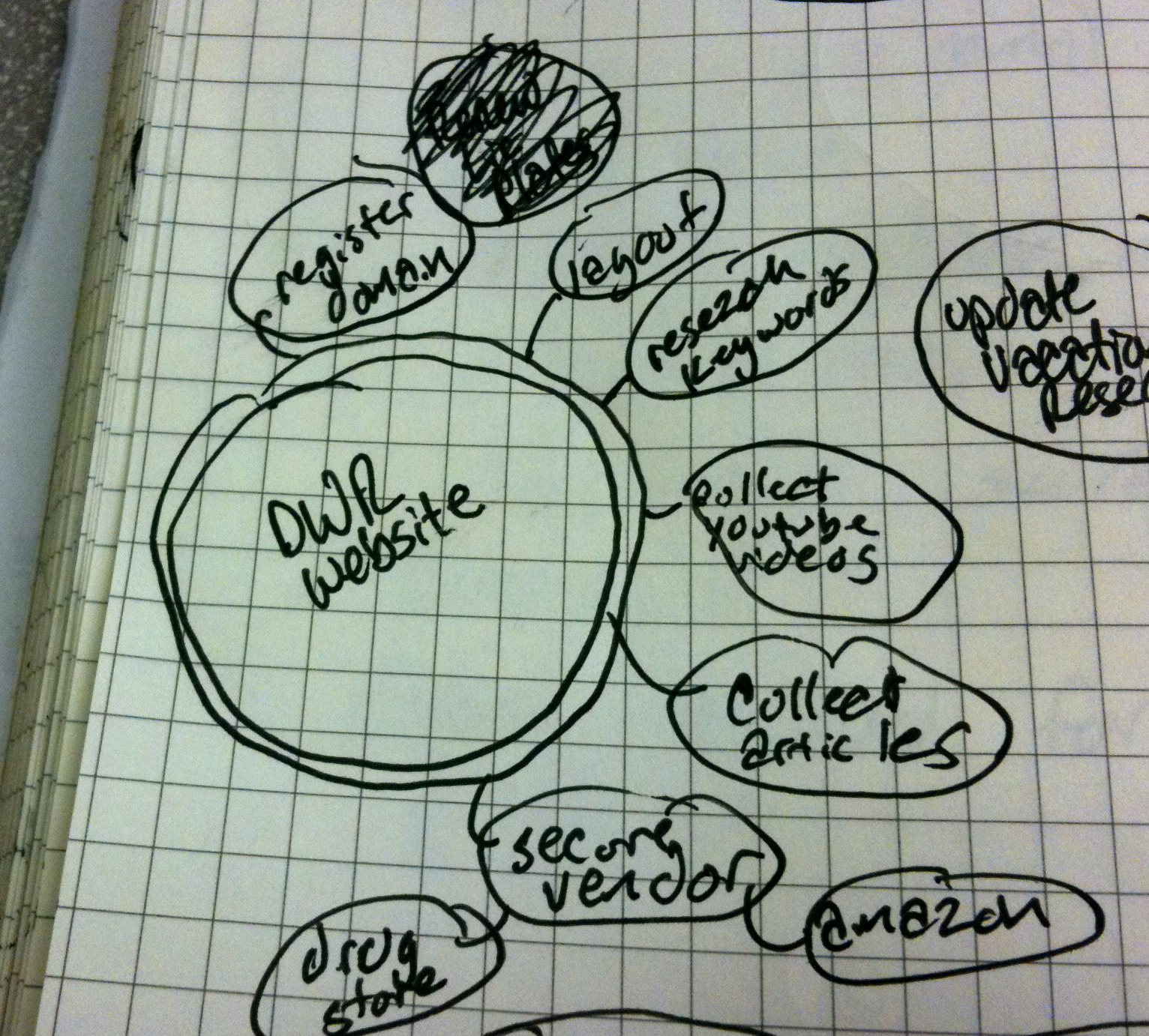 Bubble Map drawn in Moleskine notebook - Closeup of Clustered Bubbles