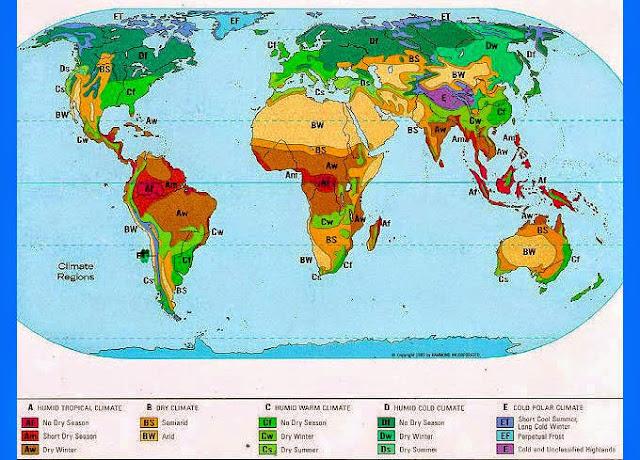 Pembagian wilayah iklim menurut Koppen