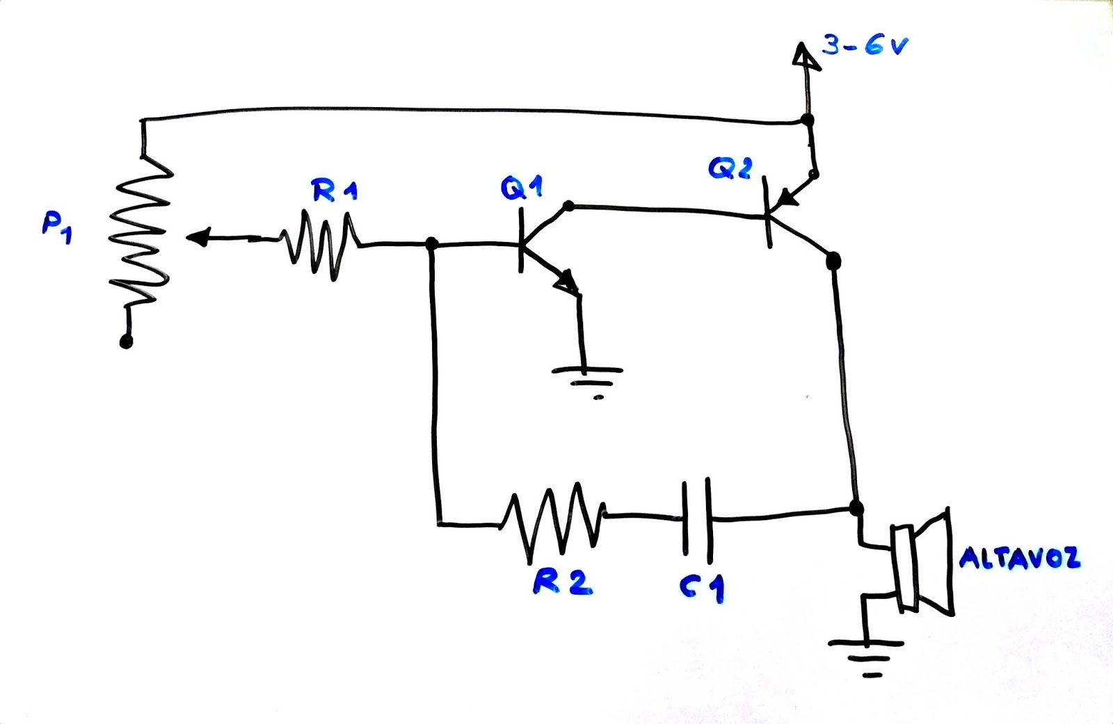 corriente a u00e9rea  peque u00f1o circuito para generar un tono audible