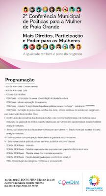 2ª Conferência Municipal de Políticas para a Mulher de Praia Grande