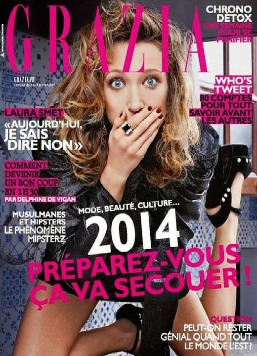 Magazine Cover : Laura Smet Magazine Photoshoot Pics on Grazia Magazine France January 2014 Issue