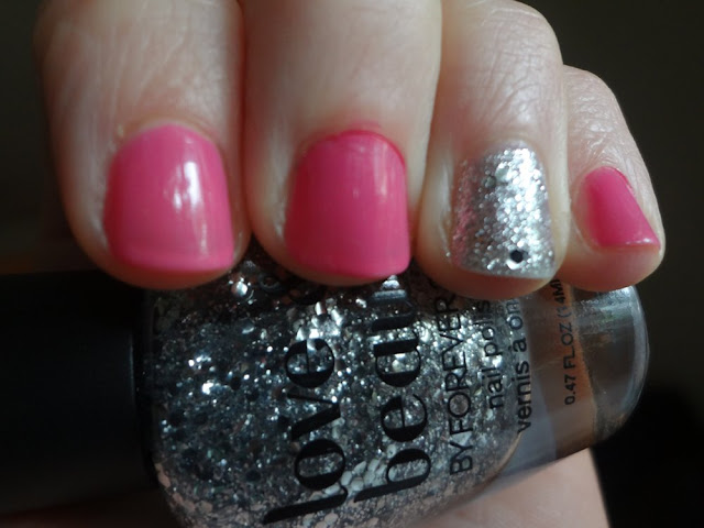 Pink Nails with Silver Glitter Accent Nail