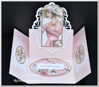 Art Deco, lady, pink, Sue Wilson, Spellbinders