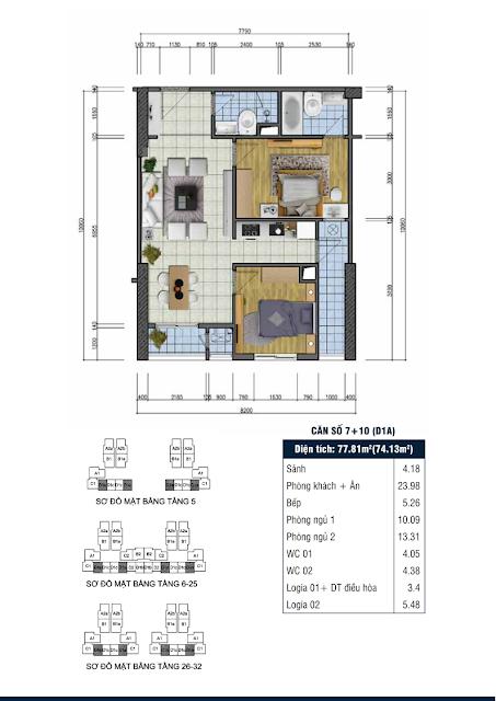 Thiết kế căn hộ số 7+10 - Chung cư Goldsilk Complex Vạn Phúc