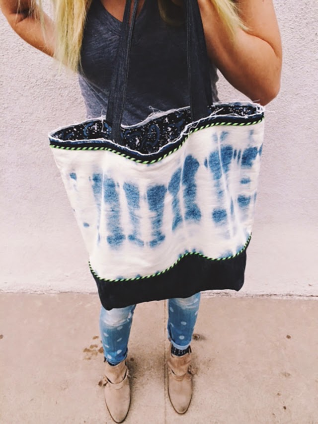 Denim, bleached denim, tote, purse, bag, reversible bag, Trishawna