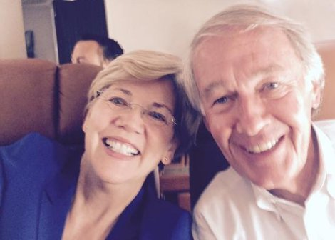 Senator Elizabeth Warren selfie on Air Force One