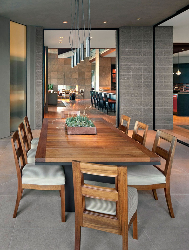 Wooden dining table in modern Dream home in the desert, Paradise Valley