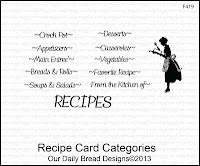Our Daily Bread designs stamps, Recipe Card Categories