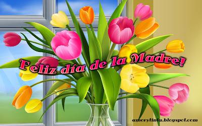 florero con tulipanes dia de la madre