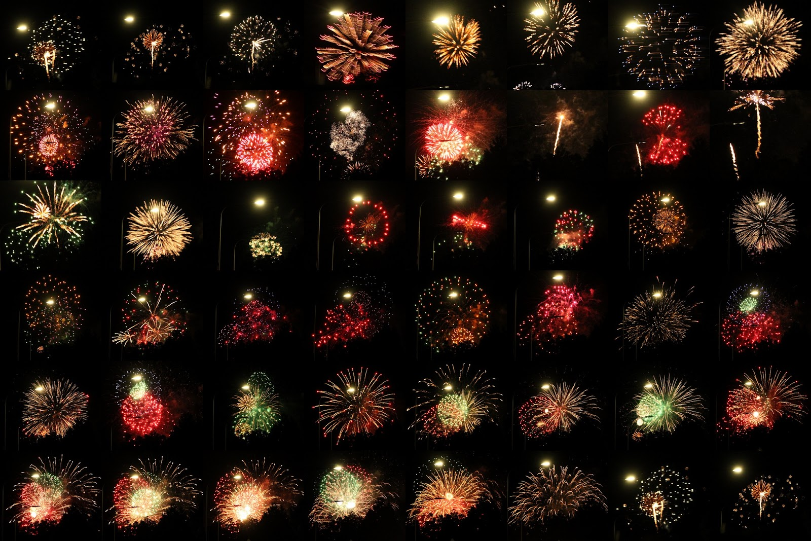 heres a montage of fireworks display last night in hagley park as seen from the comfort of our front lawn