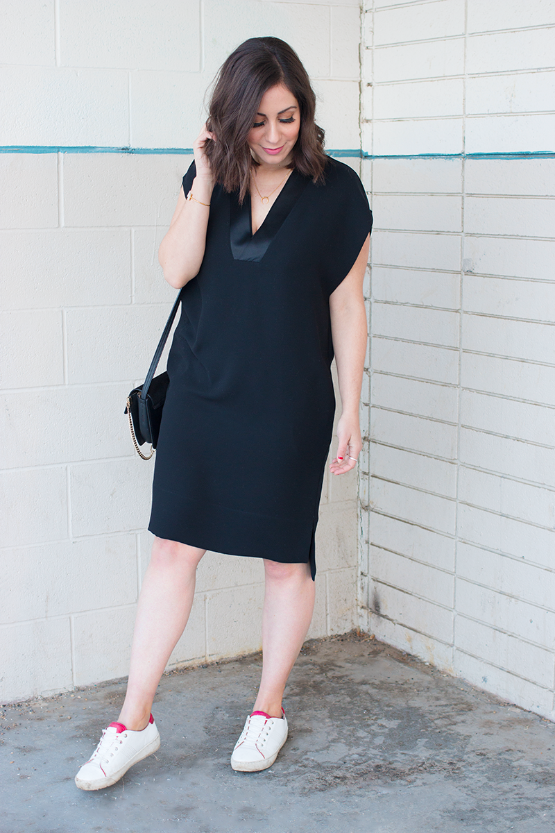 How to style a LBD with sneakers