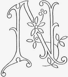 N flower calligraphy monogram tattoo stencils