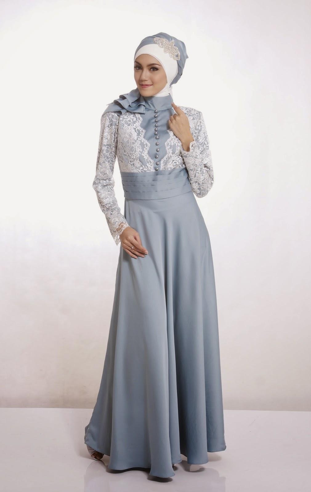 Model Gamis Kebaya Longdress Untuk Pesta Warna Aqua