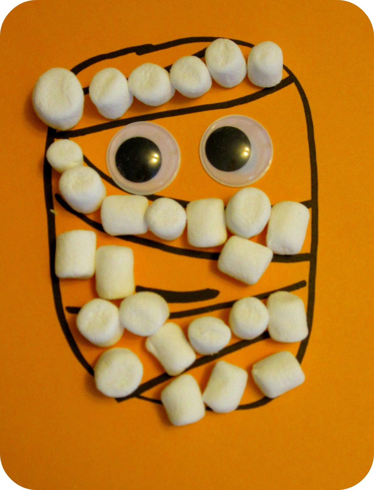 halloween craft idea for preschoolers marshmallow pumpkin - Halloween Mummy Crafts