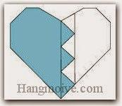 Bước 19: Hoàn thành cách xếp trái tim tan vỡ, hai nửa trái tim bằng giấy theo phong cách origami.