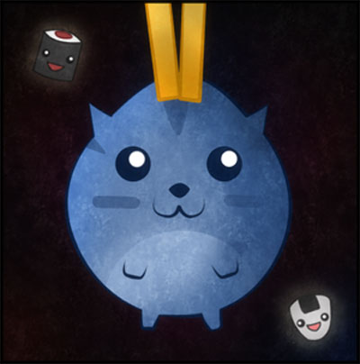 Sushi Cat! by Demeterr Chan. A cute blue round cat being held happily by chop-sticks, about to be dropped on some Sushi treats.