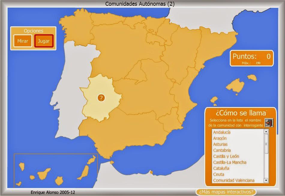 RECURSOS PRIMARIA  Mapas interactivos de Espaa CCAA y