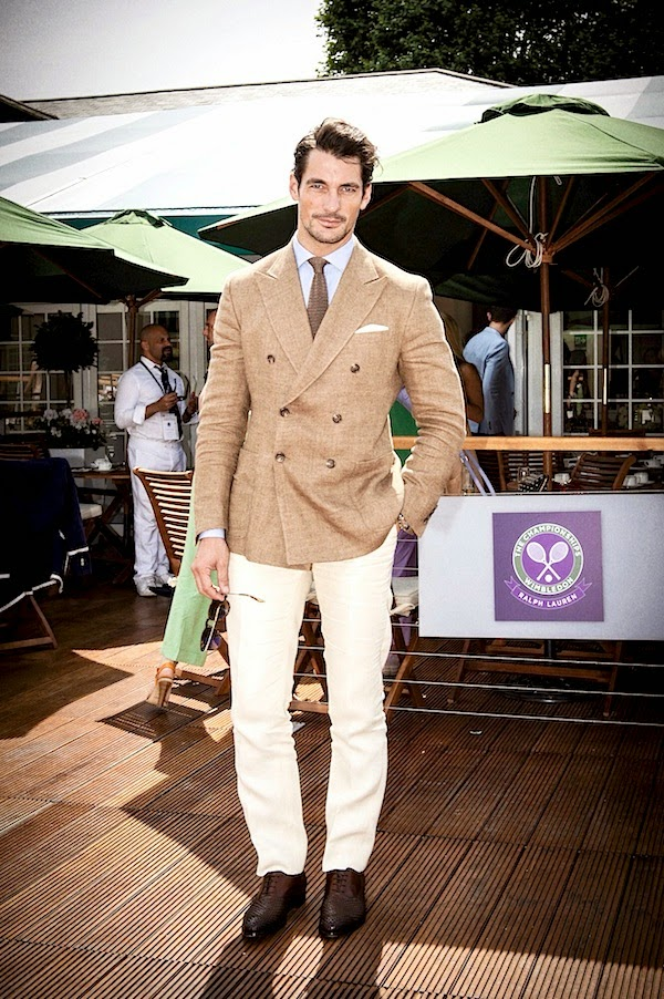 David Gandy in Ralph Lauren at Men's Quarter Finals at Wimbledon July 2014