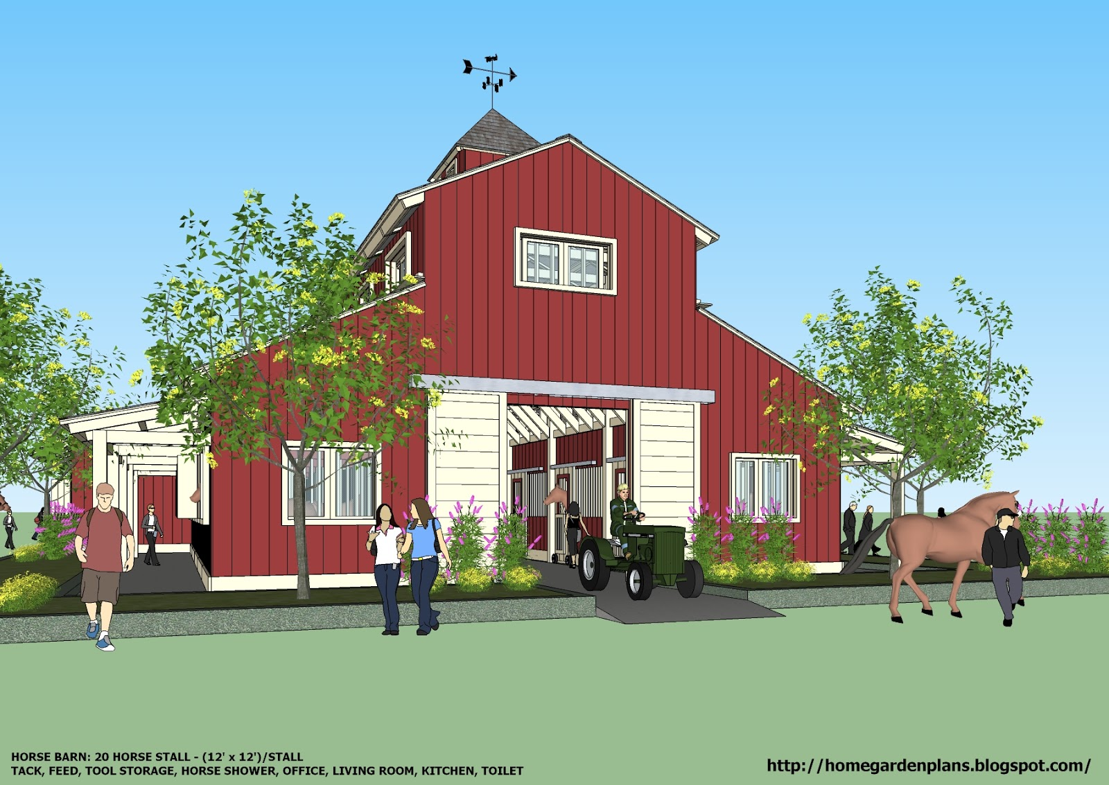 Home garden plans b20h large horse barn for 20 horse for Barn designs