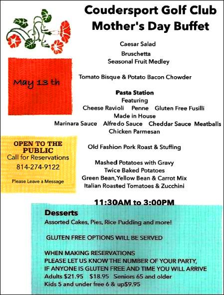 5-13 Mother's Day Buffet, Coudersport