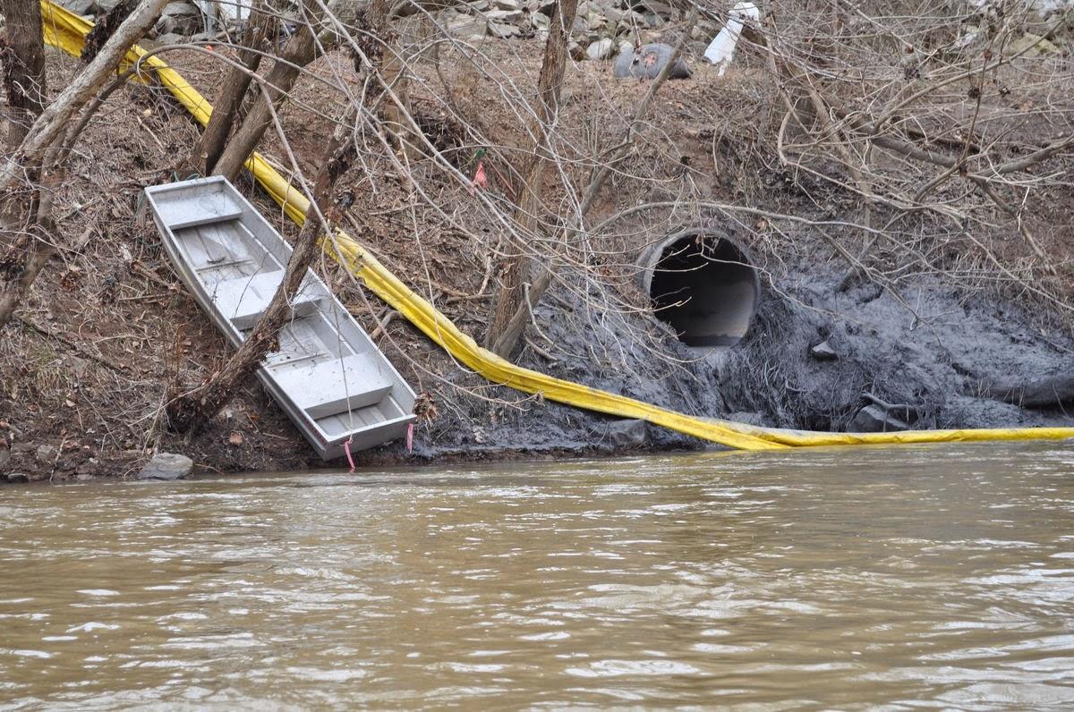 Duke Energy Dan River: Stormwater outlet beneath Primary Ash Basin.