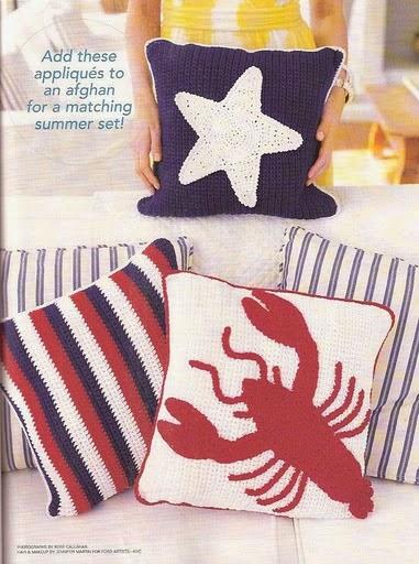 ... cushions cojines de verano estrella de mar y langosta a crochet