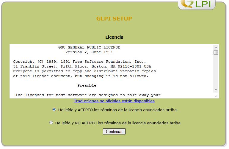 licencia glpi