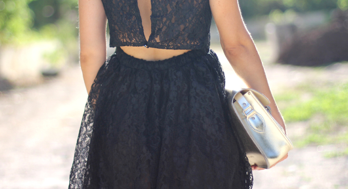 Lace little black dress with sexy open back by blogger