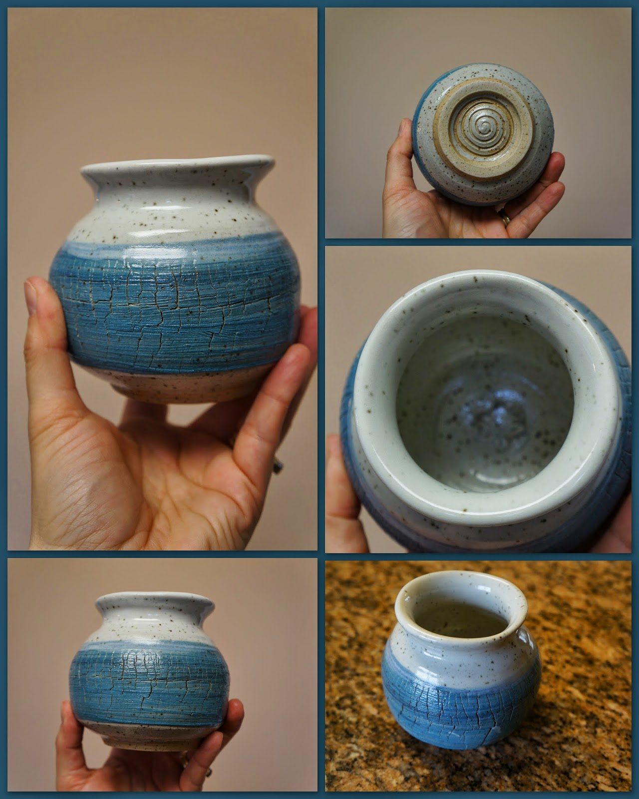 Beautiful sodium silicate crackle vase and blue and white.