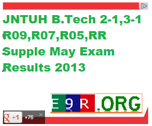 JNTUH B.Tech 2-1,3-1 R09,R07,R05,RR Supple May Exam Results 2013