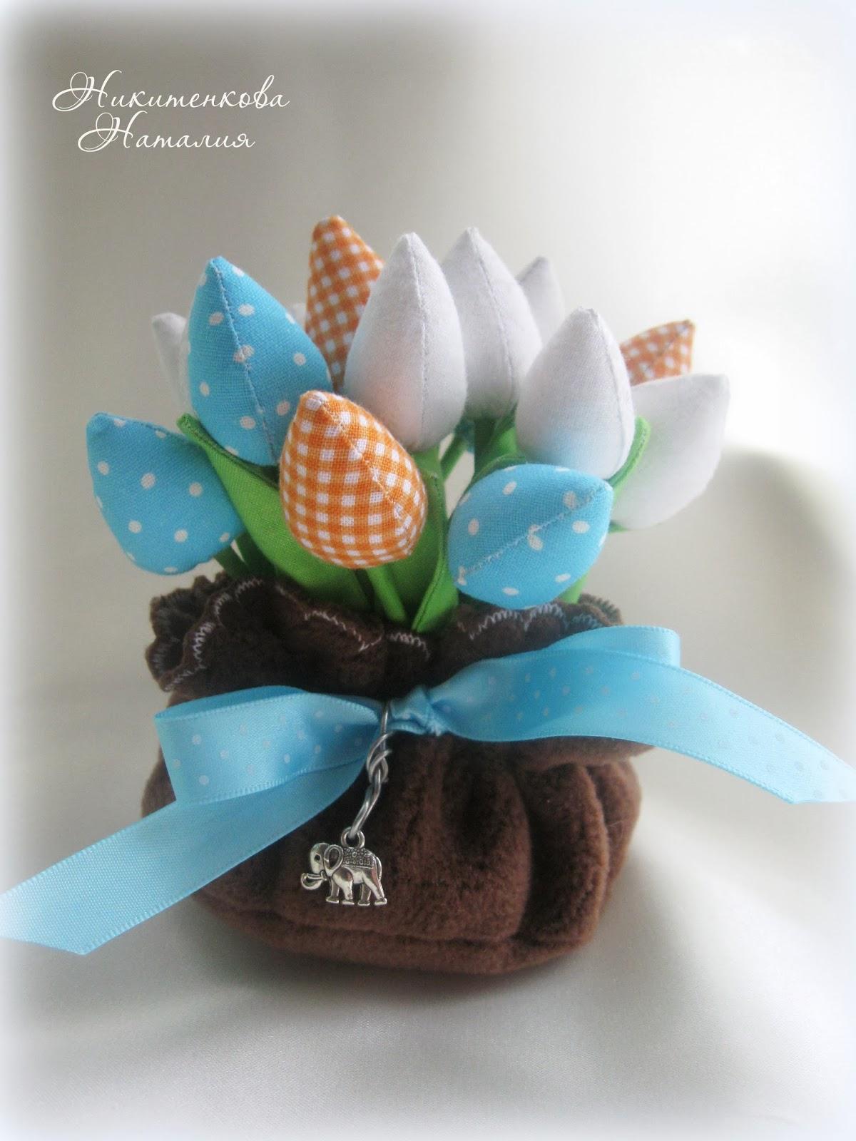 букет тюльпанов, цветы из ткани, шитье, тюльпаны