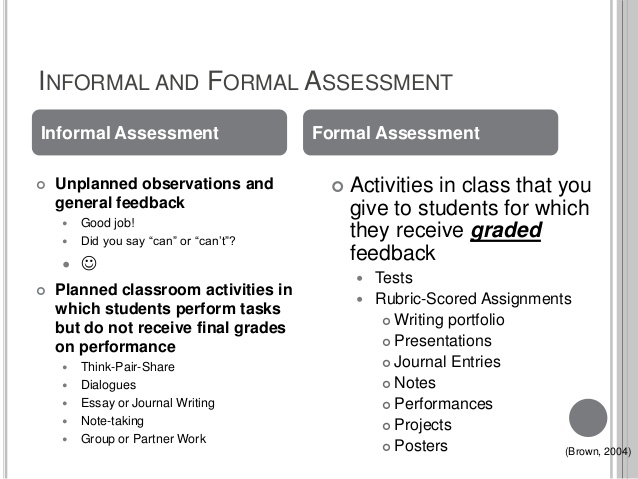 FORMAL AND INFORMAL ASSESSMENTS | ASSESMENT IN EDUCATION