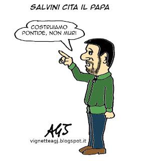 Salvini, Lega, Pontida satira vignetta