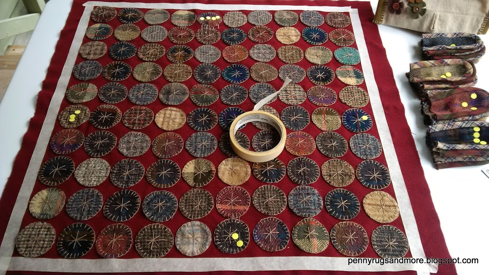 Penny rugs and more plaid tongue rug tutorial for Rugs rugs and more rugs
