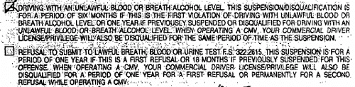 Florida DUI Uniform Traffic Citation
