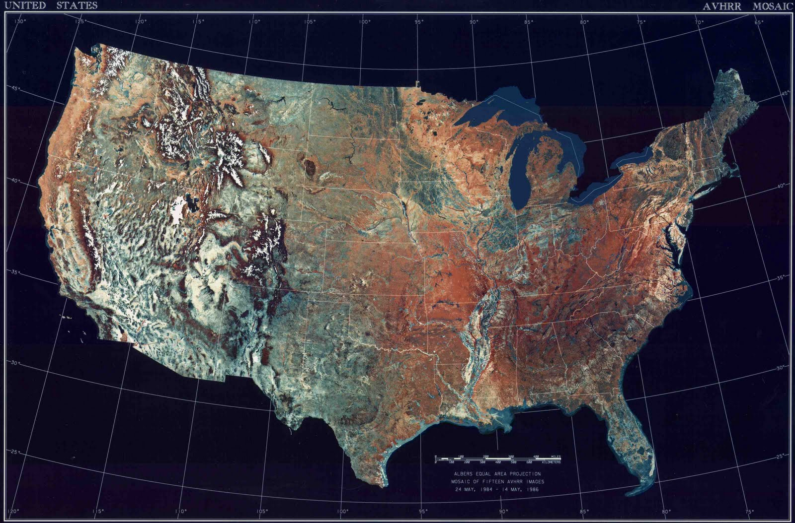 satellite image showing topography of the contiguous united states