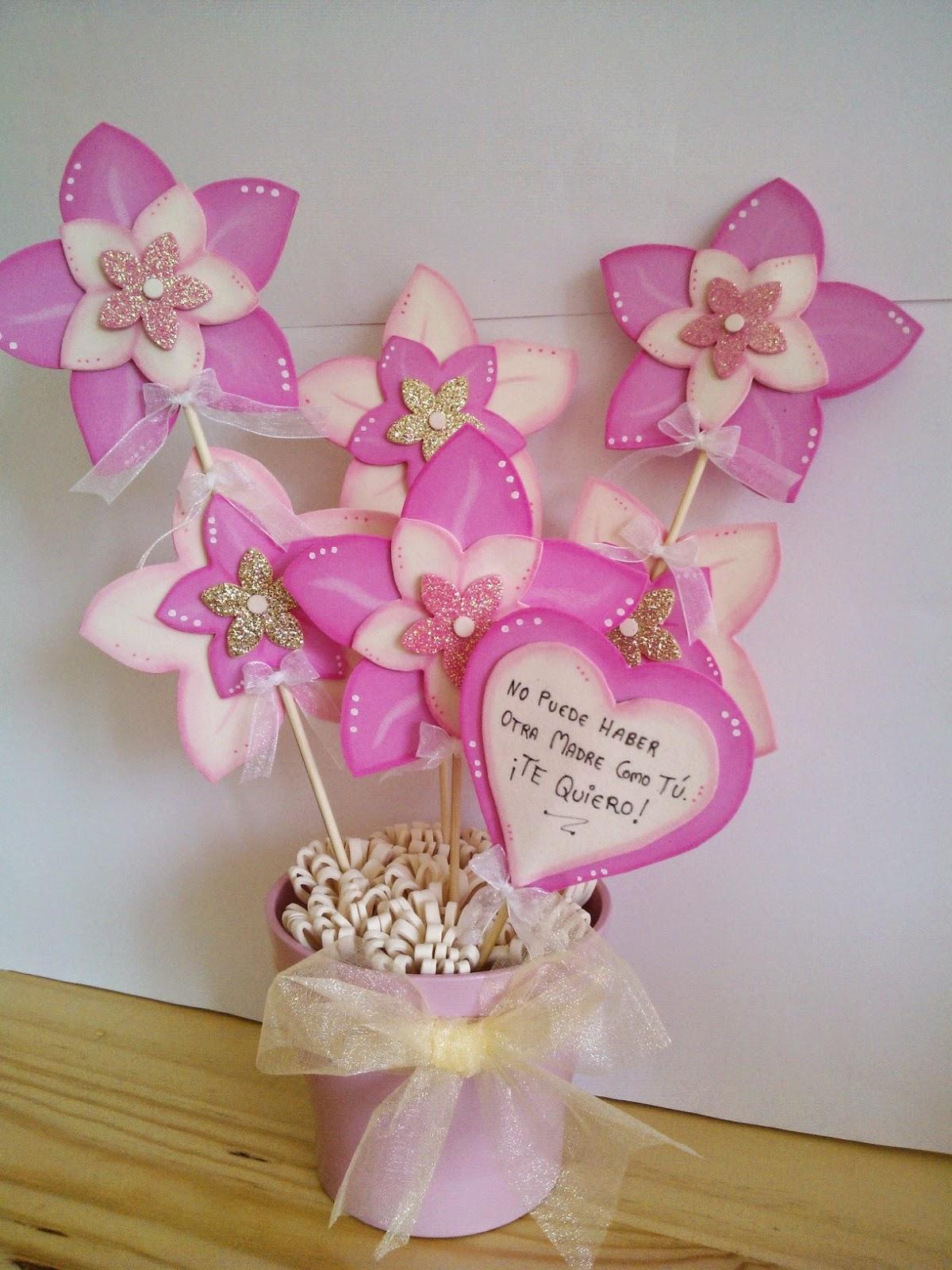 Cucadas de mami maceta decorada flores de goma eva para for Decoracion de goma eva para cumpleanos