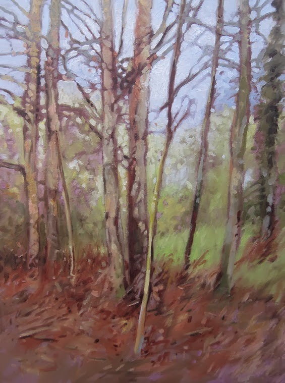 oil painting of trees in spring by kevin gough