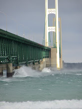 Mackinac Bridge on windy winter day.
