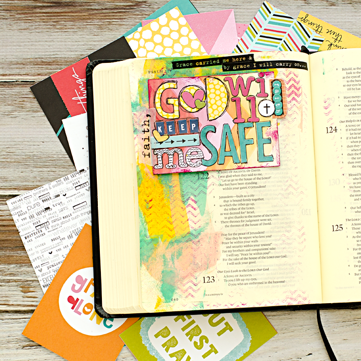 sharing my process for creating a mixed media art journaling Bible entry for Psalm 121