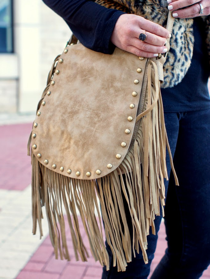 studded taupe fringe crossbody