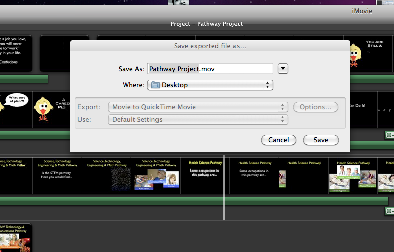 how to put an imovie project on your desktop mac