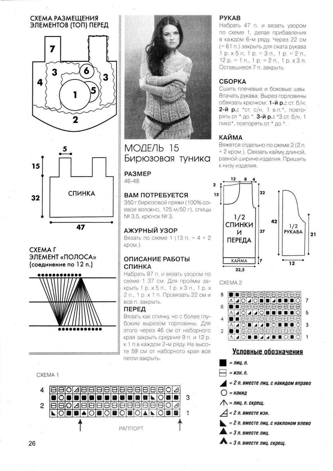 Схема вязания туники спицами 9 фотография
